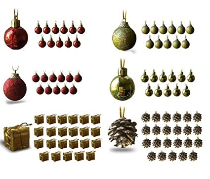 banberry designs mini christmas ornaments assorted set of 96 ornaments red and gold mini - Amazon Christmas Ornaments