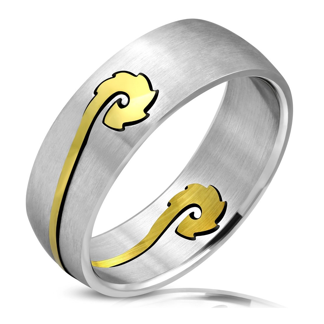 Stainless Steel Matte Finished 2 Color Cut-out Tribal Vine Half-Round Band Ring