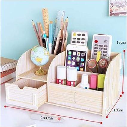 Organizador de escritorio de madera, portalápices de elefante con soporte para teléfono - Estante de correo para escritorio, mesa o mostrador - Organizador de suministros de escritorio con 2 cajones: Amazon.es: Oficina