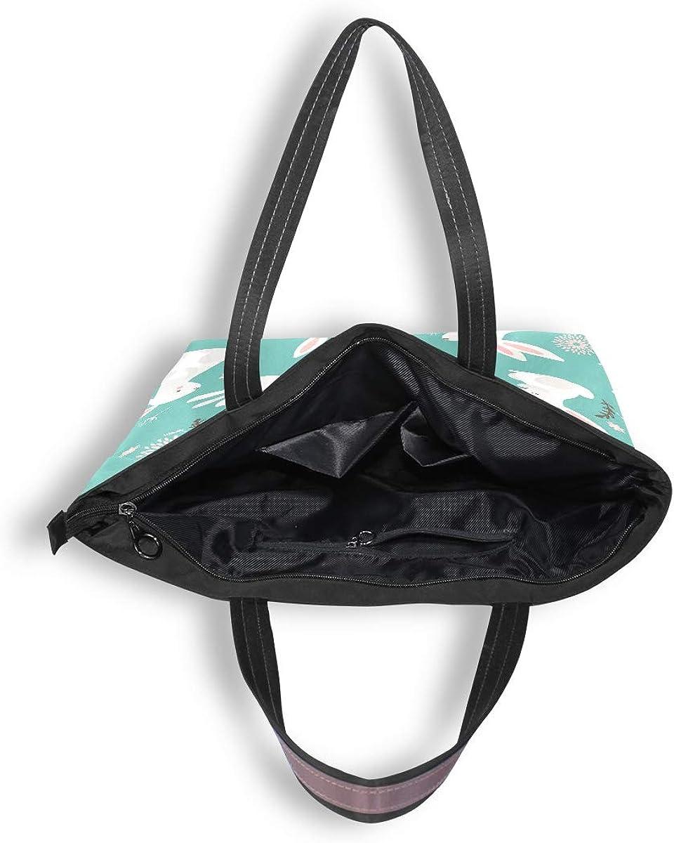 Zip Tote Bag Easter Bunny Rabbit Womens Handbags Shoulder Bags Satchel Purse