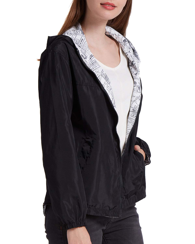 BELLEZIVA Womens Loose Fit Jacket Reversible Zip Up Outdoor Sport Long Sleeve Hooded Windbreak Coat