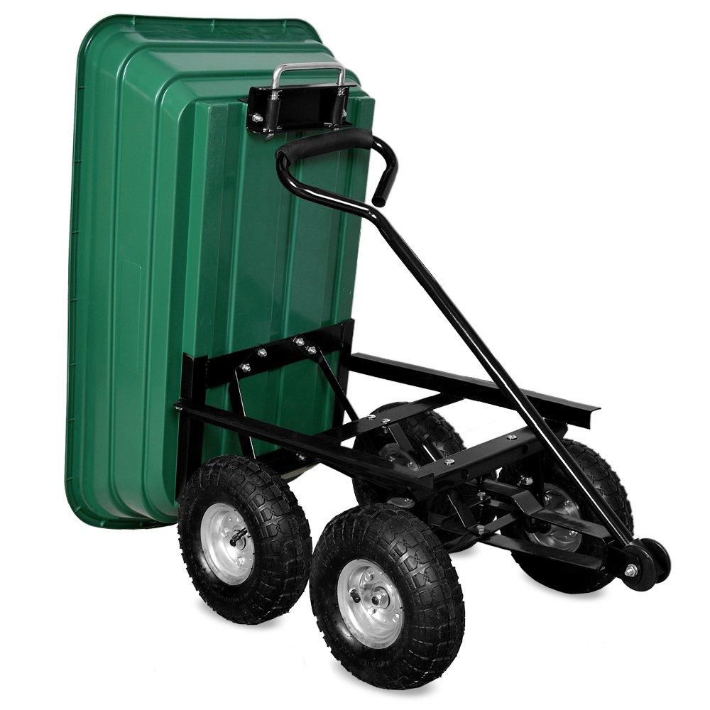Deuba Garden Trolley Wheelbarrow Transport Cart Green 300kg Load Capacity Tilt Function