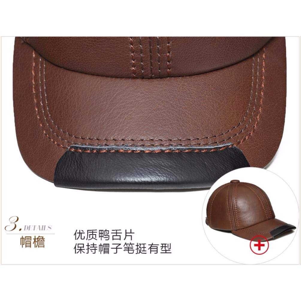 Thundertechs Man Woman Autumn and Winter Leather hat Baseball Cap Outdoor Warm hat Cap (Color : Red-Brown, Size : 22.04-23.62inch) by Thundertechs (Image #4)