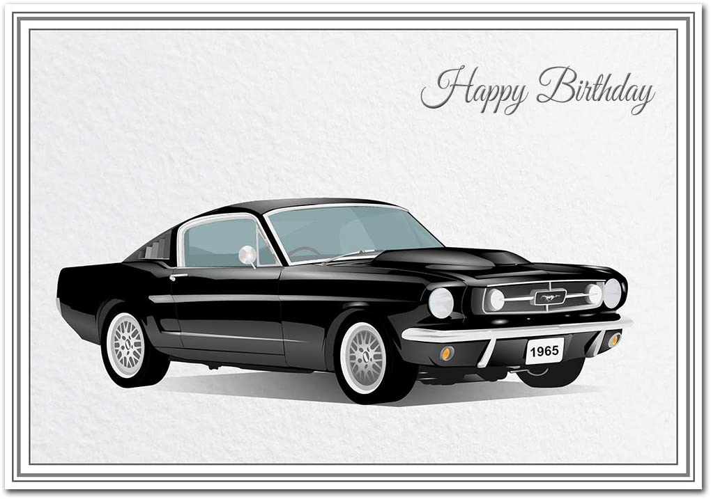 Car Birthday Card Unique 1965 Ford Mustang Premium Quality Modern Design Exclusive Vector Artwork Special Keepsake Classic Cars Happy Wishes And Greetings Superior Giclee Printing Amazon Co Uk Office Products