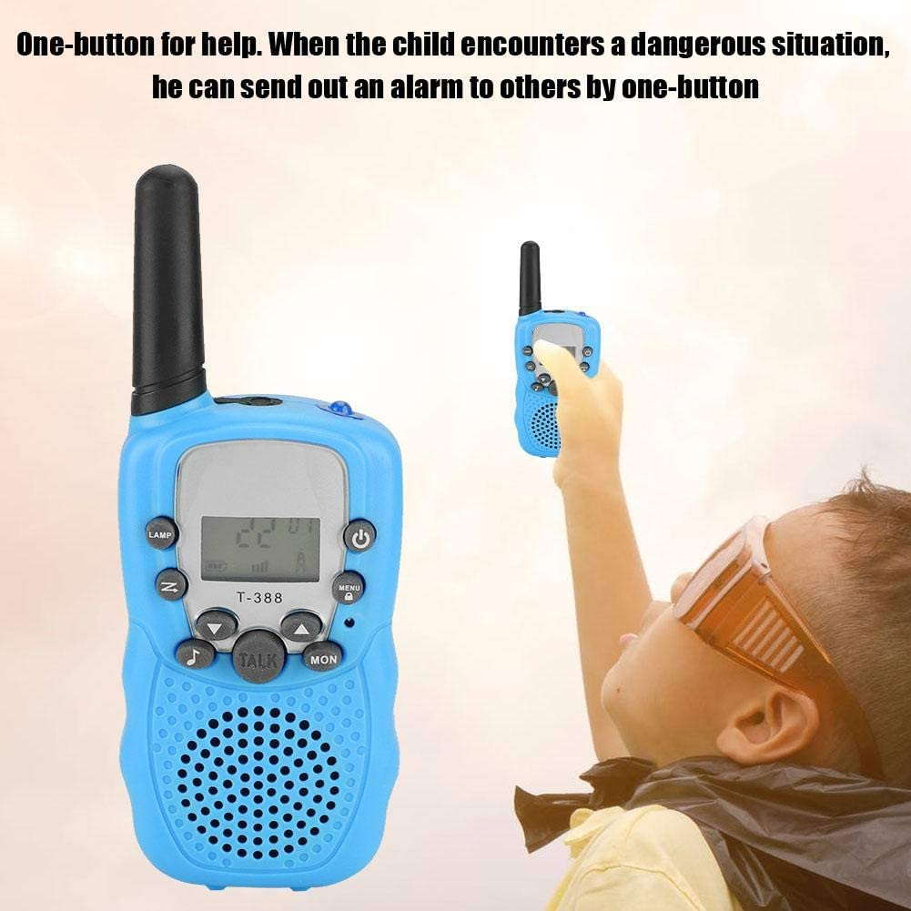 Blue One-Button for Communicating//for Help Zopsc 2Pcs Walkie Talkie for Kids UHF462-467MHz Two Way Radio with LCD Display
