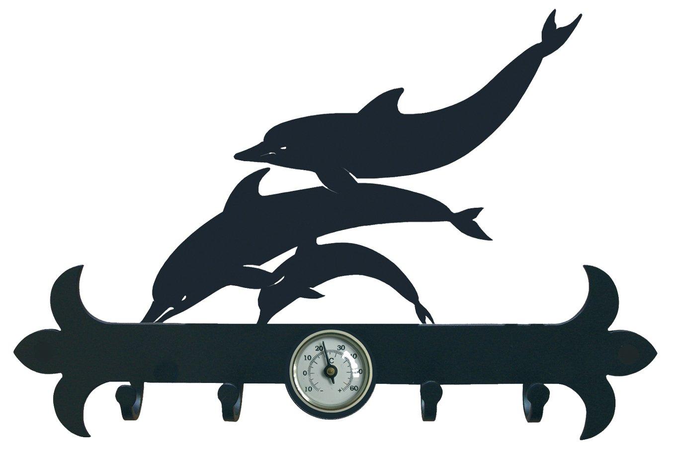 290 mm 2.5x29x19.7 cm IMEX EL ZORRO El Zorro 11629-Colgador de Llaves Delfines Hierro Forjado Negro