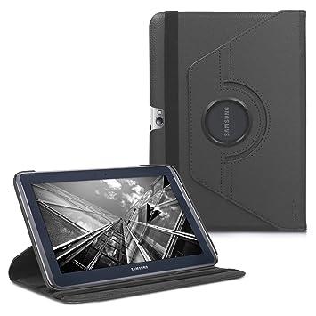 kwmobile Funda compatible con Samsung Galaxy Note 10.1 N8000 / N8010 - Carcasa de cuero sintético para tablet en antracita