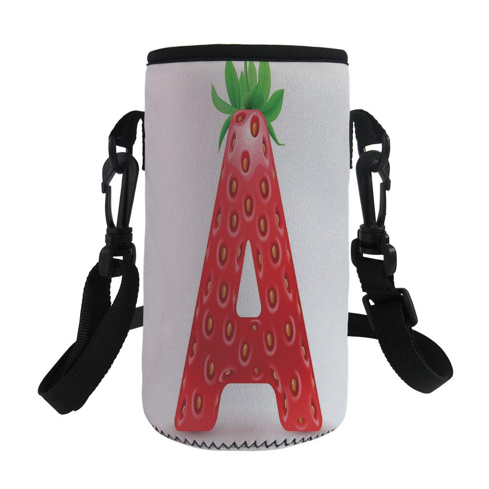 Small Water Bottle Sleeve Neoprene Bottle Cover,Letter A,Letter A in Strawberry Style with Green Leaves Alphabet Fun Food Theme Decorative,Vermilion Green Orange,Great for Stainless Steel and Plastic/