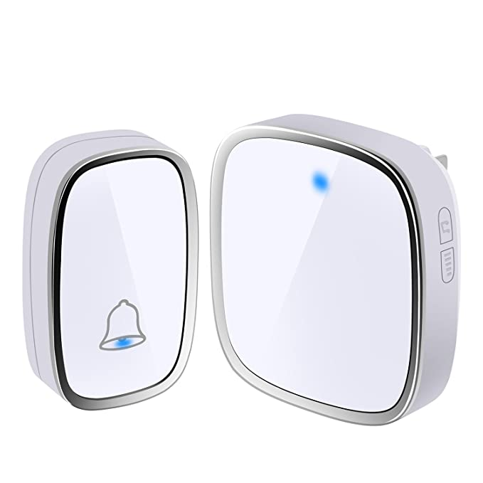110db Chime Bell 300M Remote Doorbell Elderly Deaf Caller with Receiver+Transmitter 1*Receiver+2*Transmitter 4 Volume Level for Hotels Homes Apartments Office Wireless Door Bell