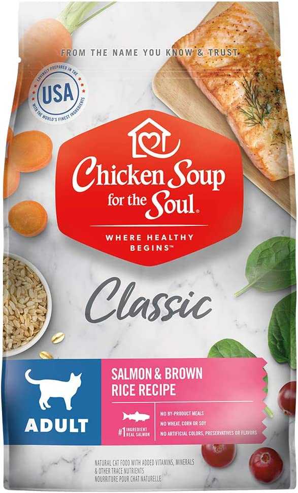 Chicken Soup for The Soul Pet Food - Adult Dry Cat Food, Salmon & Brown Rice Recipe, 13.5 lb. | Soy, Corn & Wheat Free, No Artificial Flavors or Preservatives