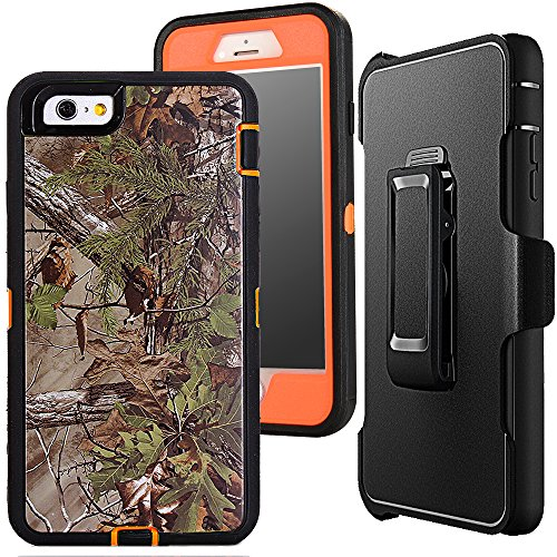 iPhone 7 Camouflage Case,Auker Defender 4 in 1 Xtra Tree Camo Shockproof Water Resistant Heavy Duty Full Body Protective Belt Clip Case Cover with Impact Screen Protector for iPhone 7 4.7