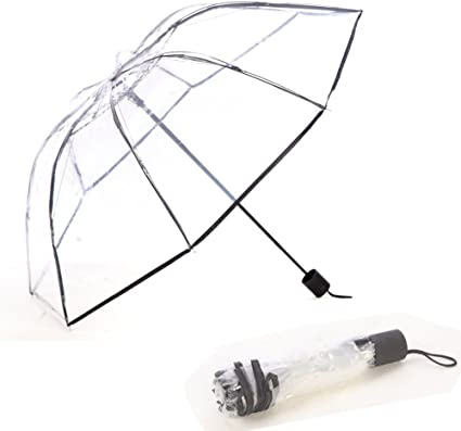 WerFamily Full Automatic Umbrella Folding Transparent Clear Auto Open Travel