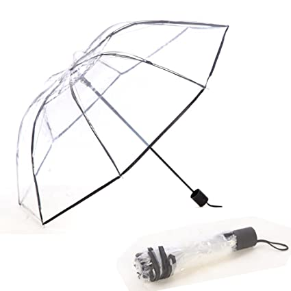 Clear Transparent Folding Auto Open/Close Umbrella w Reinforced Steel Ribs (auto-Black
