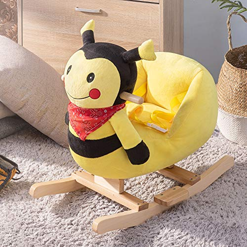 Lyland Baby Rocking Horse Safety Kid Rocker Toy for 1-3 Years Old Plush Cute Animal Rocker with Protect Belt for Nursery Child Birthday ()