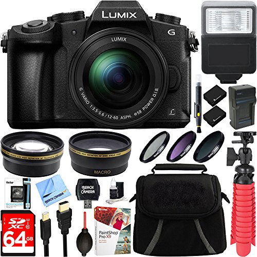 Panasonic LUMIX G85 4K Mirrorless Camera with 12-60mm Lens + Two-Pack BLC12 Spare Battery + Accessory Bundle by Beach Camera