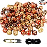 Outuxed 100 Pcs 16mm Wooden Beads Assorted Round Painted Pattern Barrel Wood Beads for Jewelry Making Bracelet Loose Spacer Charms