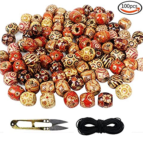 Outuxed 100 Pcs 16mm Large Wooden Beads Assorted Round Painted Pattern Barrel Wood Beads for Jewelry Making Bracelet Loose Spacer (Beads Large Assortment)