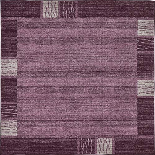 Unique Loom Del Mar Collection Contemporary Transitional Purple Square Rug 8 0 x 8 0