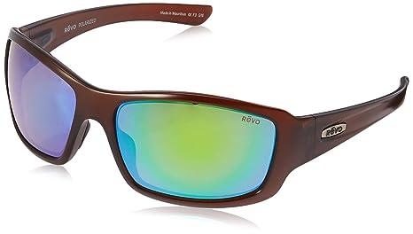 22371ad9d4 Revo Bearing RE 4057 02 GN Polarized Rectangular Sunglasses, Matte  Brown/Green Water,