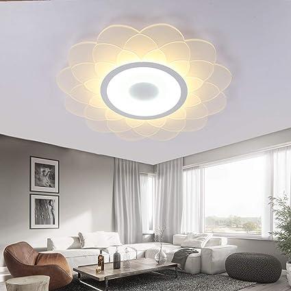 Luz empotrada moderna en el techo, lámpara de techo ultrafina llevada, lámparas calientes románticas en forma de flor, para el estudio Porche de la escalera del balcón de la sala de estar:
