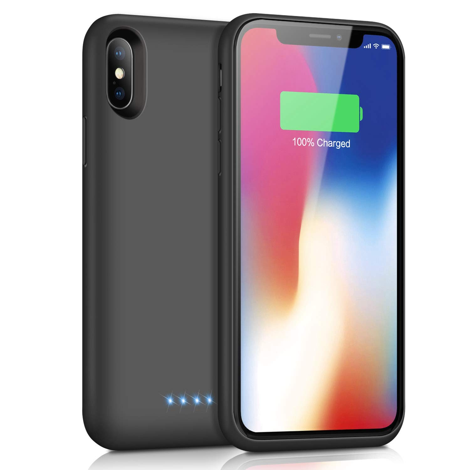 Battery Case for iPhone X/Xs, [6500mAh] Xooparc Protective Portable Charging Case Rechargeable Extended Battery Pack for Apple iPhone Xs&X (5.8') Backup Power Bank Cover - Black by Xooparc (Image #1)