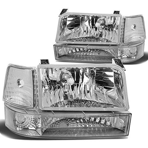 Ford 96 Bronco Assembly Grille (DNA Motoring HL-OH-F15092-6P-CH-CL1 Headlight Assembly (Driver & Passenger Side))