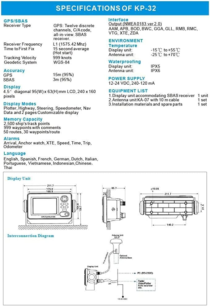 KP-32 GPS/SBAS Pantalla LCD de 4,5 pulgadas Navegador marino Localizador de navegación GPS: Amazon.es: Coche y moto