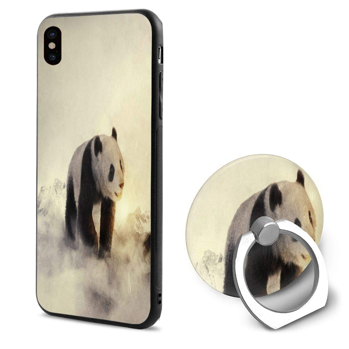 Amazon.com: Phone X Case Cute Panda Wallpapers Ring Cell ...