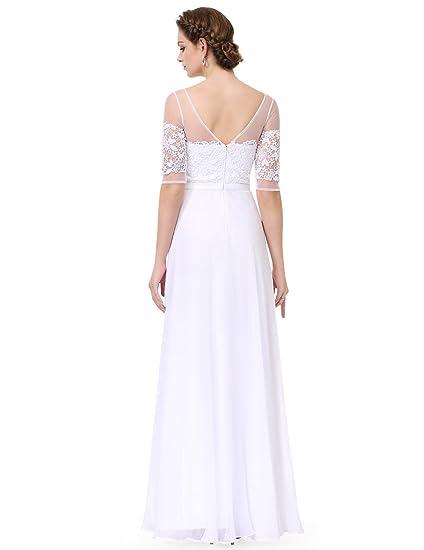 Vestido de fiesta, de Ever Pretty, de encaje, de media manga, de noche, 08459 Blanco blanco 46: Amazon.es: Ropa y accesorios