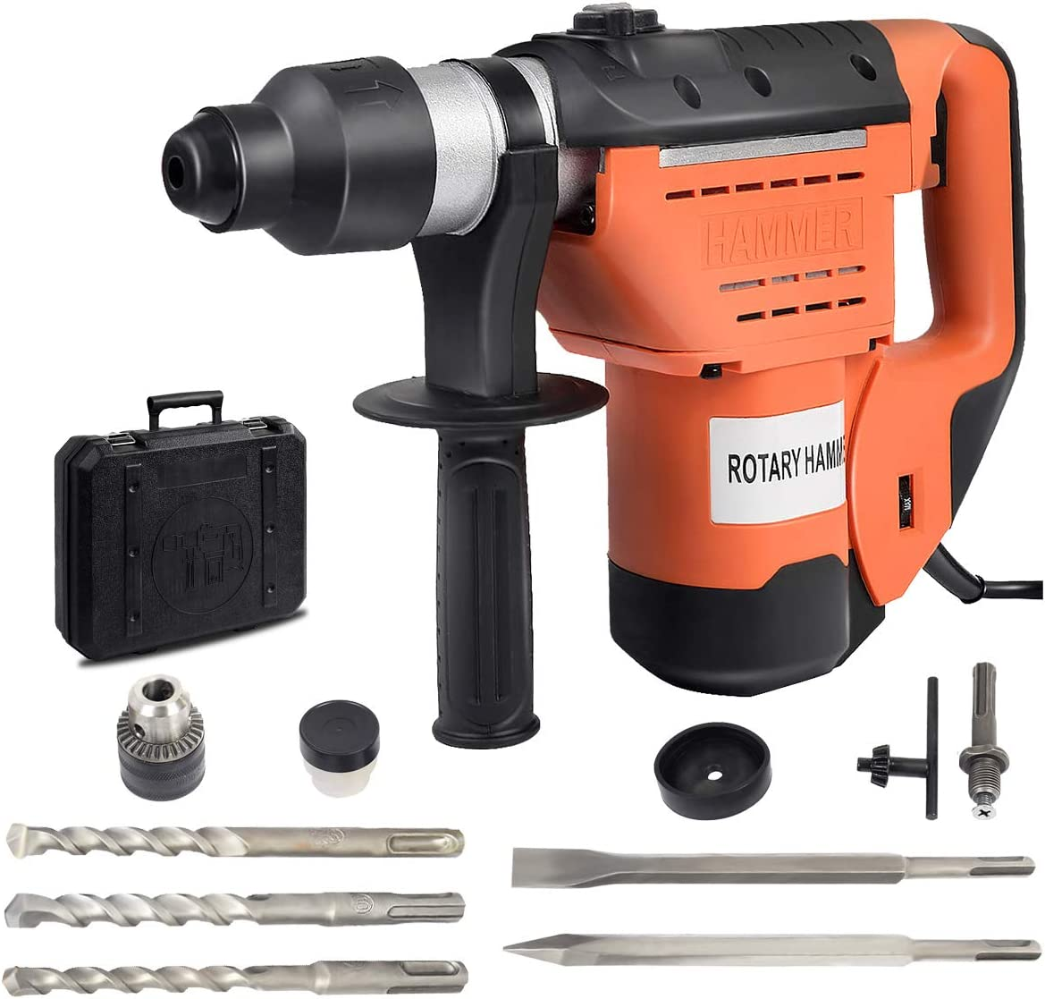 Goplus SDS Rotary Hammer, 1-1 2 Electric Rotary Hammer Drill with Vibration Control, 3 Drill Functions, Plus Demolition Bits, Includes 3 Drill Bits,Point and Flat Chisel with Case Orange