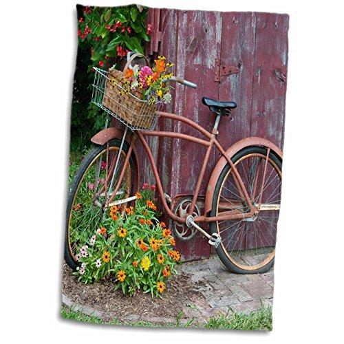 3dRose Bicicleta con Flores en Basket-Next a Viejos caseta cobertizo de jardín Toalla de Mano, 15' x 22'