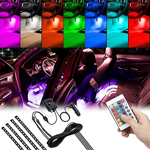 Opall Interior Under-dash Multi-color LED Light Strip Kit Bar with Sound Active Function and Wireless Remote Control 4pcs