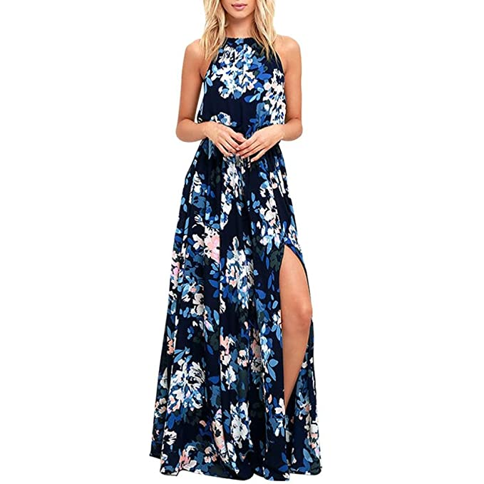 bae0a20a8d Sunward Summer Women Floral Print Halter Neck Sleeveless Split Beach Maxi  Dress (Blue, L