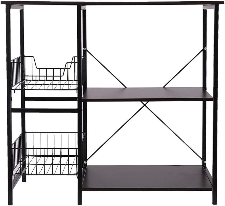 Microwave Cart Kitchen Bakers Rack Utility Oven Stand Shelf Storage Cart Black Kimanli Multifunctional Rack