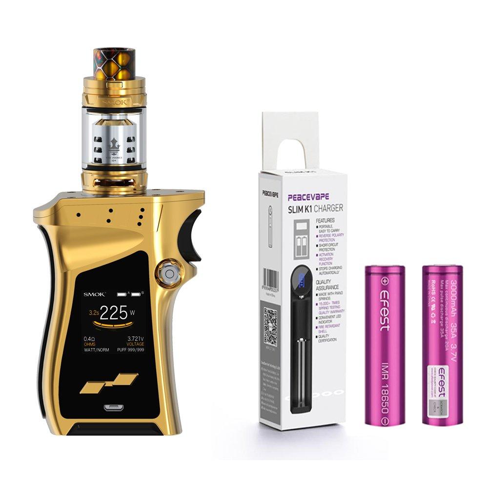 AUTÉNTICO SMOK MAG KIT 225W con TFV12 Prince Tangue 2mL Cigarrillo electrónico (Oro) con 2 X EFEST 3000 mAh Batería y cargador de 18650 batería PEACEVAPE™ Sin Tabaco - Sin Nicotina