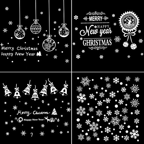 Coohom 200+ PCS Christmas Window Stencil Sticker Set of 4 DIY Window Cling Sheet - Removable Snowflake Bell Decal for Window Mirror Glass Door Car Body Holiday Xmas - For Christmas Stencils Snow