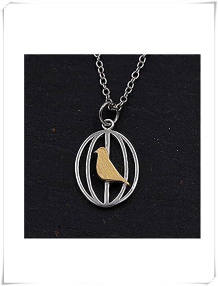 Plata de Ley Oro pájaro en jaula colgante collar vintage diseño ...