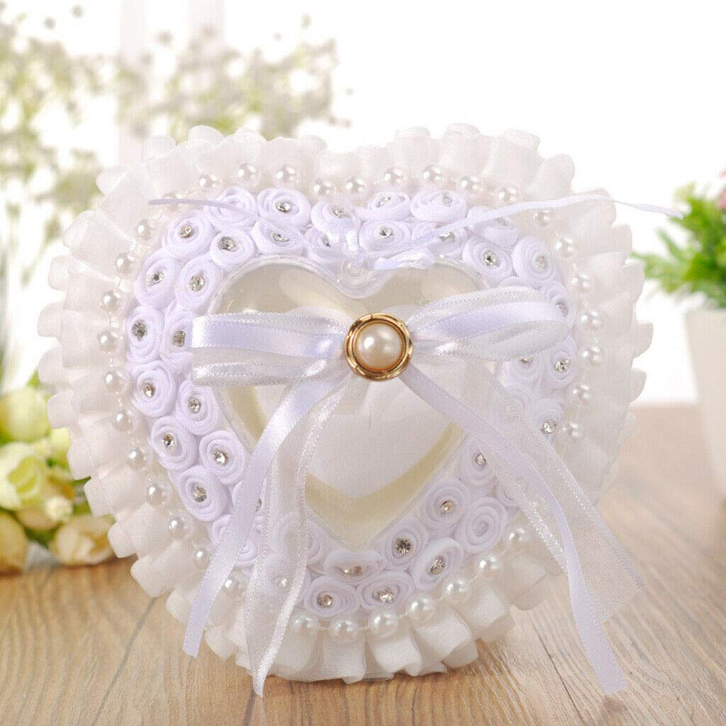 BROSCO Wedding Ring Pillow Heart Box with Ribbon Pearls for Wedding Ceremony
