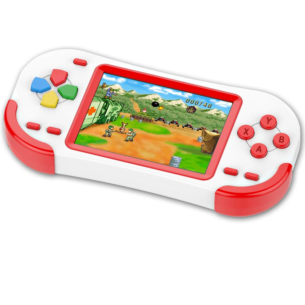 TEBIYOU Handheld Game Console for Adults Kids Seniors with Built in 16 Bit 220 HD Classic Games 3.0'' Large Screen Portable Retro Game Player Children Electronic Handheld Games (Red)