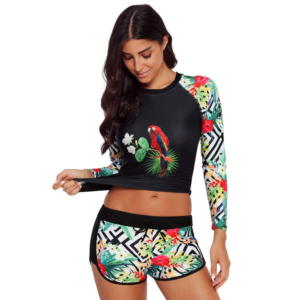 Libermall Women's Sexy Floral Printing with Boyshort Quick-Drying Surfing Sport Two Piece Swimsuit Bathing Suit Swimwear Green