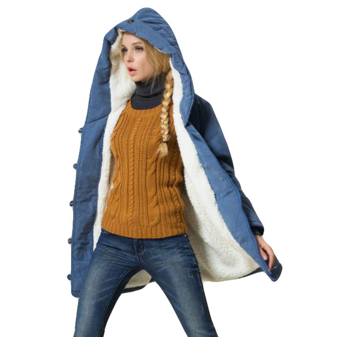Belgius Women Hooded Warm Coat Winter Warm Cotton Fleece Lined Outwear Parkas Jacket