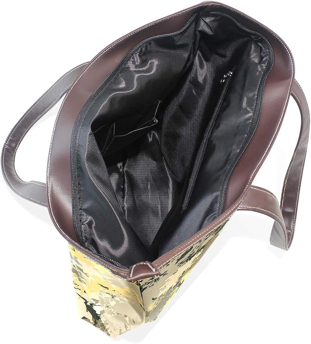 Youth Camo Design Yellow Womens Leather Handbag Shoulder Bag Satchel Handbags Leather Tote Purse Women Handle Handbags