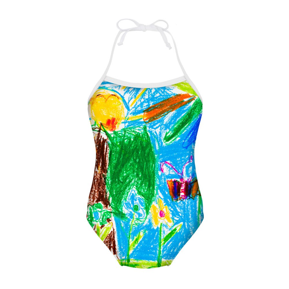Girls Infinity Splice One Piece Swimsuit 3-8 Year-Old Kids Oil Paint Monarch Butterfly Flowers Smiling Sun