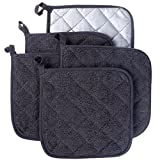 #1: 100% Cotton Kitchen Everyday Basic Terry Pot holder Heat Resistant Coaster Potholder for Cooking and Baking Set of 5 Mineral Gray