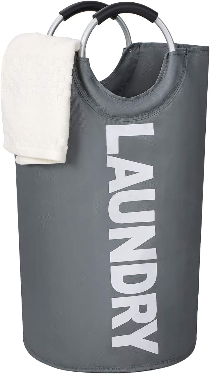 Large Laundry Hamper, 82l, Collapsible Fabric, Durable, Waterproof for Bathroom, Bedroom, Dormitory, for Kids Room Toy Storage. (Dark Gray). Nice Price!