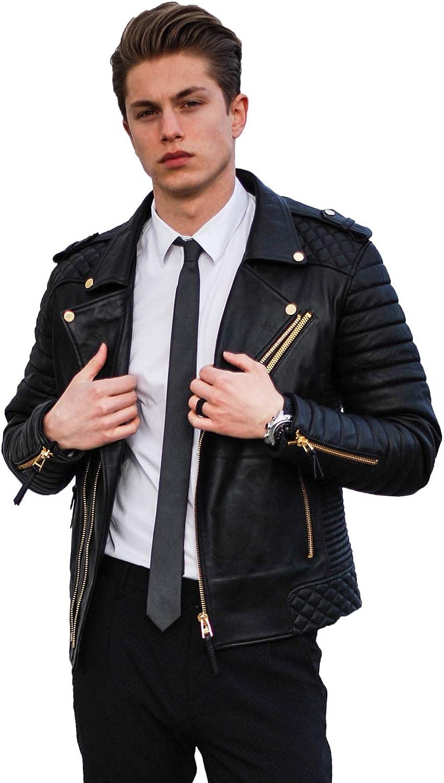 Skin2Fashion Mens Leather Jackets Motorcycle Bomber Biker Real Leather Jacket 01