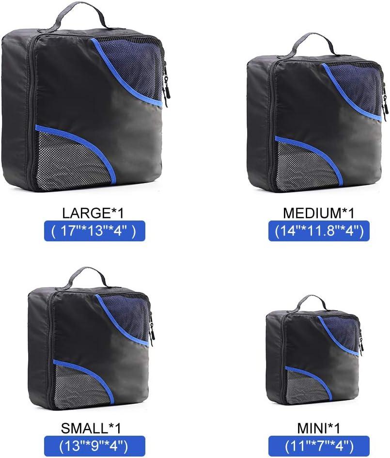 Embalaje Cubos Organizadores de Equipaje de Viaje F40C4TMP 4 PCS Organizadores de art/ículos de Aseo Almacenamiento para Bolsos Maleta Mochila Bolso Hombre Grande Mujeres Adultos Medio Peque/ño peque/ño