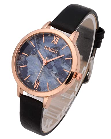Top Plaza Women Girls Thin Leather Wrist Watch Fashion Unique Rose Gold Case Marbled Roman Numerals