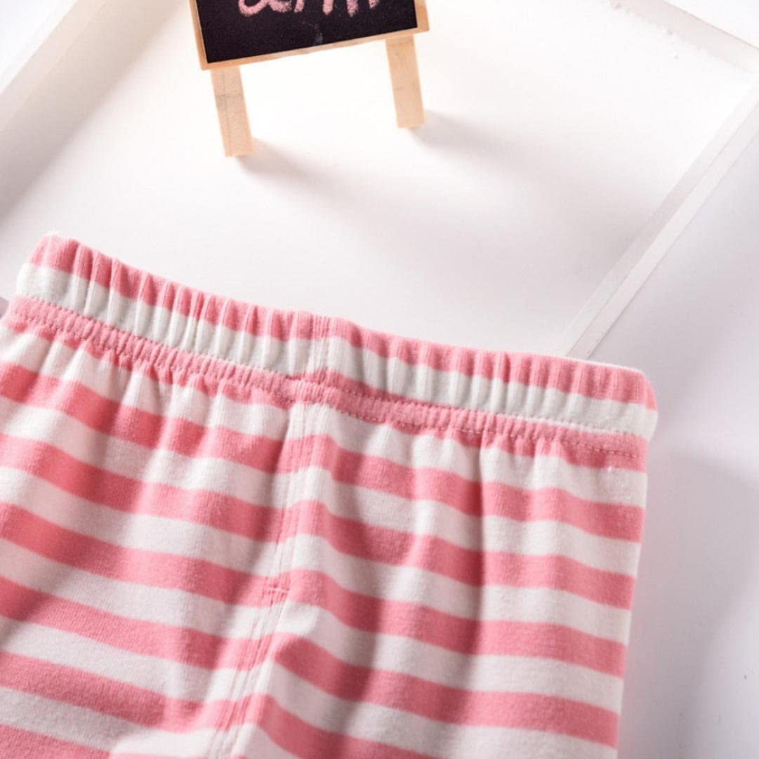 Adorable Little Baby Girls Casual Pants Cartoon Cat Stripe Printed Solid Ear Long Trousers Cute Bottoms/