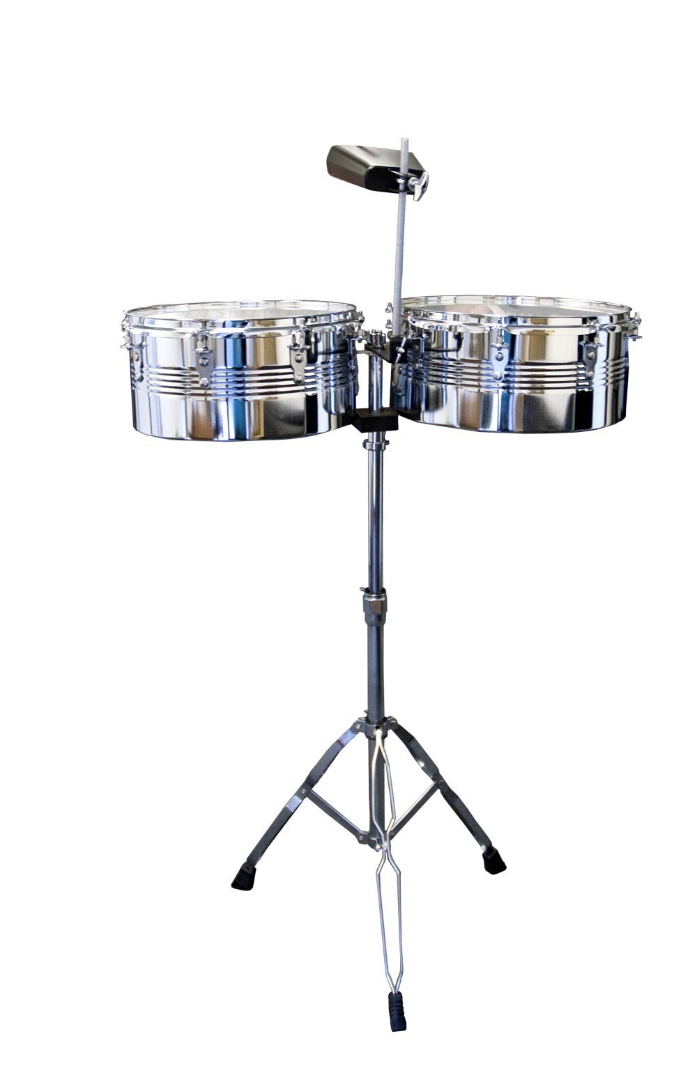 Suzuki Musical Instrument Corporation TS-2 Timbale Drum Set with Stand, Cowbell and Sticks